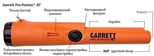 Органы управления пинпоинтера Garrett Pro Pointer AT